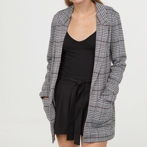 H&M • Glen Plaid Long Blazer Jacket